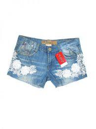 Outlet Ropa Hippie - pantalon jeans corto encaje. PAPO03 - Modelo Azul