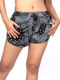 Pantalones Cortos Hippie Ethnic - Pantalon corto rayón estampado [PAPO06] para comprar al por mayor o detalle  en la categoría de Ropa Hippie Alternativa para Mujer.