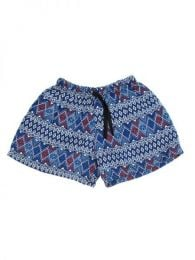 Pantalones Cortos Hippie Ethnic - Pantalón hippie corto PAPO07 - Modelo Azul 2
