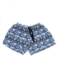 Pantalones Cortos Hippie Ethnic - Pantalón hippie corto PAPO07 - Modelo Azul 1