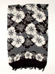 Pareo de flores de rayón Mod Negro