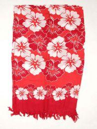 Pareo de flores de rayón Mod Rojo