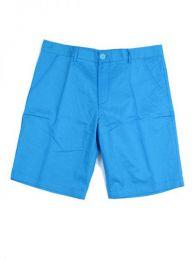 Outlet Ropa Hippie - pantalón corto bolsillos PASC01 - Modelo Azul