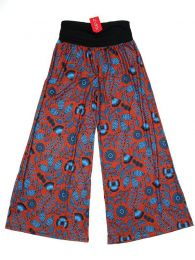 Pantalones Hippies Harem Boho - Pantalón de pata amplia PASN27 - Modelo Rojo