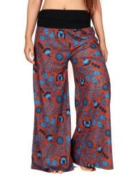 Pantalon hippie estampado flores PASN27 para comprar al por mayor o detalle  en la categoría de Ropa Hippie Alternativa para Mujer.