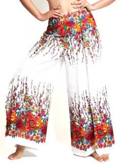 Pantaloni larghi a fiori, da acquistare all'ingrosso o dettaglio nella categoria di Abbigliamento da donna Hippie | Negozio alternativo ZAS. [PAVA02]
