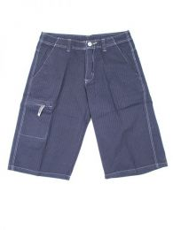 Outlet Ropa Hippie - pantalón rayas corto PAWO01 - Modelo Gris
