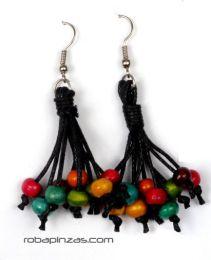 ZAS robapinzas.com |  Pendientes colgante de cordón con bolitas de madera coloreadas. Precio por PAR