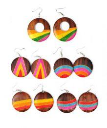 pendientes madera arena colores, detalle del producto