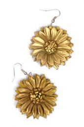 Brincos de flor de couro tingido, várias cores PEMD17 para comprar no atacado ou detalhes na categoria Alternative Ethnic Hippie Jóias e Prata | ZAS Online Store.