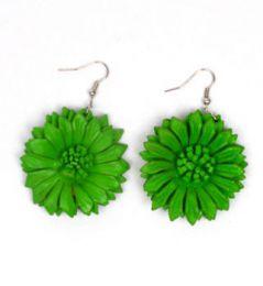 Pendientes flor de cuero Mod Verde