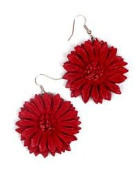 Pendientes flor de cuero Mod Rojo