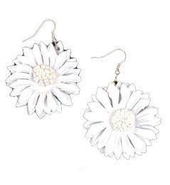 Pendientes Hippies Etnicos - Pendientes flor de cuero teñidos, PEMD17 - Modelo Blanco