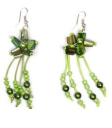 Outlet Hippie Costume Jewelery - Long colored stone earrings with matching beads [PEMD19] to buy in bulk or in detail in the Alternative Ethnic Hippie Outlet category.