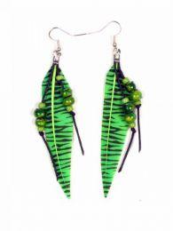 Pendientes de plumas naturales Mod Verde