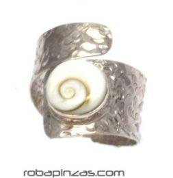 ZAS robapinzas.com | Anillo ojo de shiva y plata, ajustable a todas las tallas