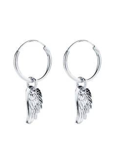 Silver Hoops and Earrings - Silver hoops with wing pendant [PLARC01] to buy in bulk or in detail in the category of Alternative Ethnic Hippie Jewelery.