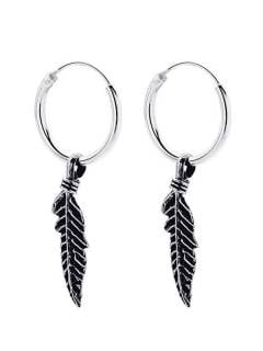 Silver Hoops and Earrings - Silver hoops with a large feather pendant [PLARC05] to buy in bulk or in detail in the Alternative Ethnic Hippie Costume category.