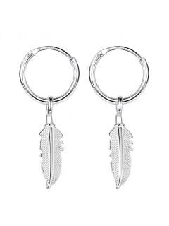 Aros de plata con colgante plumas, para comprar al por mayor o detalle  en la categoría de Accesorios de Moda Hippie Bohemia | ZAS.[PLARC06]