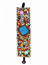 Breites ethnisches Armband Multi Perlen PUAB05 zum Großhandel oder Detail in der Kategorie Ethnic Hippie Alternative Jewelry und Silber | zu kaufen ZAS Online Store.