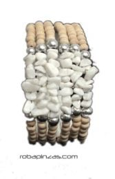 Pulsera alambre madera conchas, Pulsera realizada con cuentas de madera [PUAL03]. Pulseras Hippie Etnicas para comprar al por mayor o detalle  en la categoría de Bisutería y Plata Hippie Étnica Alternativa | ZAS Tienda Online.