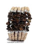 Pulseras Hippie Etnicas - Pulsera alambre madera PUAL03 - Modelo Marrón