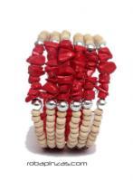 Pulseras Hippie Etnicas - Pulsera alambre madera PUAL03 - Modelo Rojo