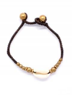Macrame and brass bracelet with shell, to buy wholesale or detail in the Alternative Ethnic Hippie Jewelry and Silver category | ZAS Online Store. [PUAM01]