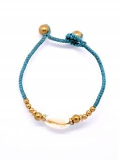 Ethnic Hippie Bracelets - Macrame and brass bracelet with shell [PUAM01] to buy in bulk or in detail in the Alternative Ethnic Hippie Costume category.