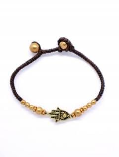 Ethnic Hippie Bracelets - Macrame and brass bracelet with Hand of Fatima [PUAM04-D] to buy wholesale or detail in the category of Alternative Ethnic Hippie Jewelery.