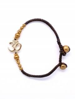 Ethnic Hippie Bracelets - Macrame and brass bracelet with OM [PUAM06-D] to buy in bulk or in detail in the Alternative Ethnic Hippie Jewelery category.