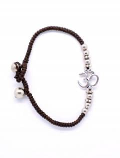 Macrame and brass bracelet with OM, to buy wholesale or detail in the Jewelery and Silver Hippie Alternative Ethnic category | ZAS Online Store. [PUAM06-P]