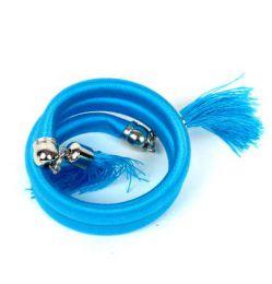 pulsera gruesa de hilo multivuelta Mod Azul