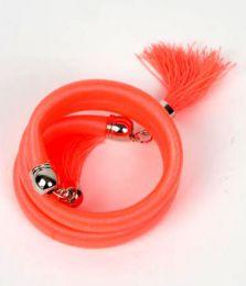 Outlet Bisutería hippie - pulsera gruesa de hilo multivuelta PUBOU06 - Modelo Naranja fosfo