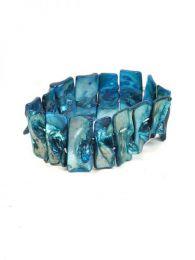 Pulseras Hippie Etnicas - Pulsera elástica conchas PUCB03 - Modelo Azul