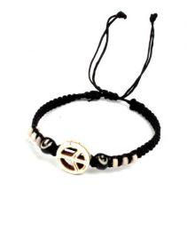 Pulsera hippie paz macramé. pulsera realizada con cordón de algodón PUCN01 para comprar al por mayor o detalle  en la categoría de Bisutería Hippie Étnica Alternativa.