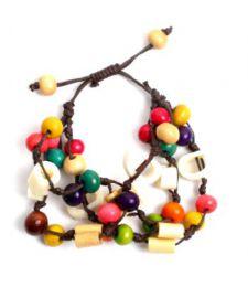 Pulseira hippie artesanal com contas de osso e bolas de madeira PUFA03 para comprar no atacado ou detalhe na categoria de Jóias Alternativas Étnicas Hippie e Prata | ZAS Online Store.
