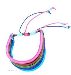 Pulsera algodón rígida multicolor 5 lineas PULI01 para comprar al por mayor o detalle  en la categoría de Bisutería Hippie Étnica Alternativa.