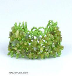 Pulseras Hippie Etnicas - Pulsera piedras naturales. PUMD12 - Modelo Verde