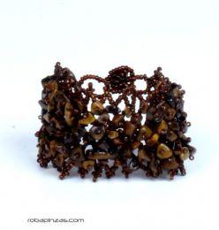 Pulseras Hippie Etnicas - Pulsera piedras naturales. PUMD12 - Modelo Marrón
