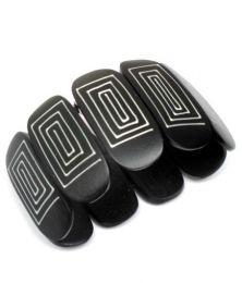 Pulsera bangle madera elástica decorada [PUMD13B]. Pulseras Hippie Etnicas para comprar al por mayor o detalle  en la categoría de Bisutería y Plata Hippie Étnica Alternativa | ZAS Tienda Online.