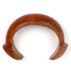 Pulsera bangle madera tallada con terminales en forma de seta PUMD14 para comprar al por mayor o detalle  en la categoría de Outlet Hippie Étnico Alternativo.