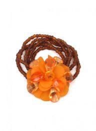 Outlet Bisutería hippie - pulsera flor cristal cuentas. PUMD16 - Modelo Marrón