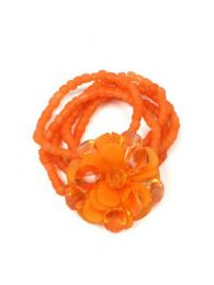 Outlet Bisutería hippie - pulsera flor cristal cuentas. PUMD16 - Modelo Naranja