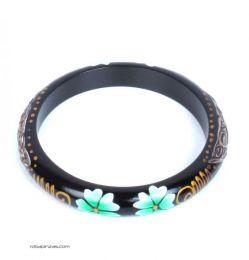 Blangle Blumenholz Armband. Schmales Armreifarmband hergestellt, um Großhandel oder Detail in der Kategorie Alternativer ethnischer Hippie-Schmuck und Silber zu kaufen | ZAS Online Store. [PUMD8]