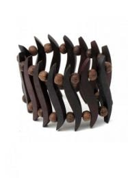 Wide sono wood bracelet. made with sono wood on elastic, to buy wholesale or detail in the category of Hippie Women's Clothing | ZAS Alternative Store. [PUMEP]