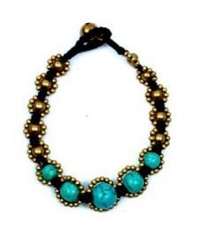 Brass waxed thread and turquoise bracelet, with button closure PUMS07 to buy in bulk or in detail in the Alternative Ethnic Hippie Jewelery category.