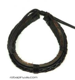 Pulsera cuero y trenzado, Mod Negro
