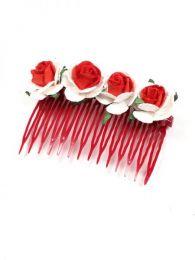 Peineta de flores realizada Mod Rojo bl