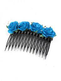 Peineta de flores realizada Mod Azul